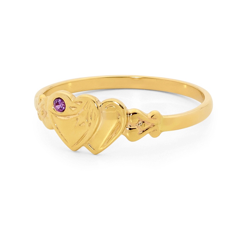 Engraved Heart Signet Ring with Amethyst