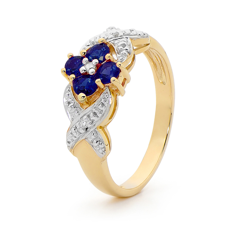 Australian Sapphire and Diamond ring