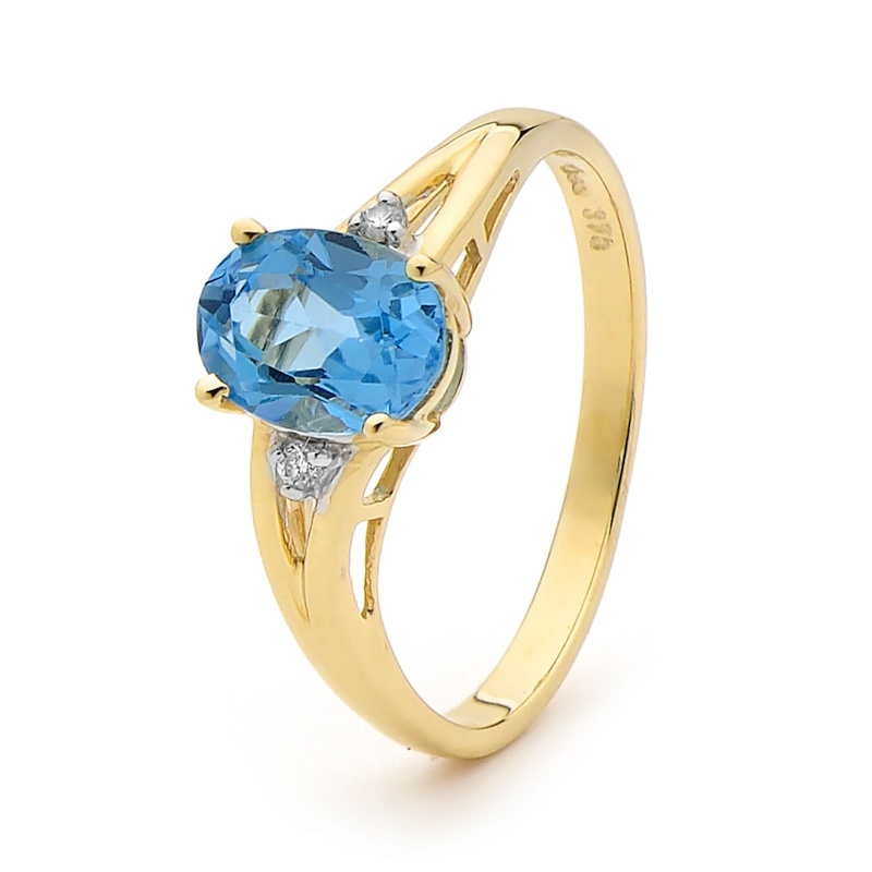 Bold Blue Topaz and Diamond Ring
