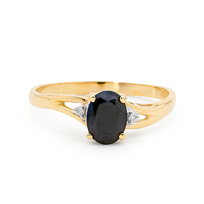 Bold Dark Sapphire and Diamond Ring (U)