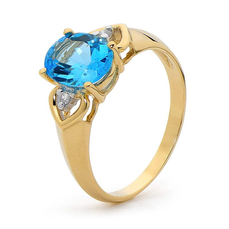Blue Topaz and Diamond Ring (U)