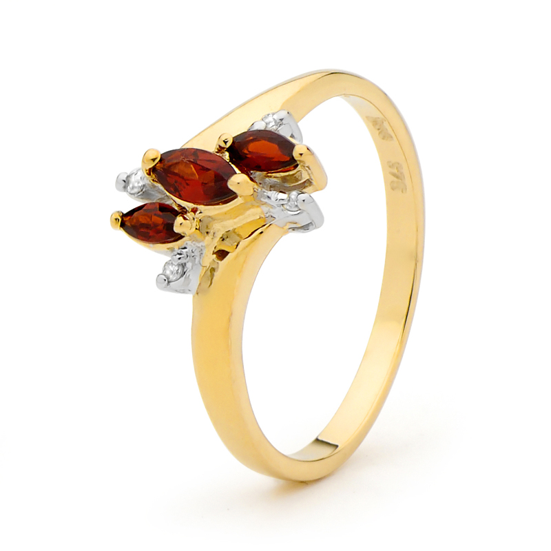 Gold Garnet and Diamond Dress Ring
