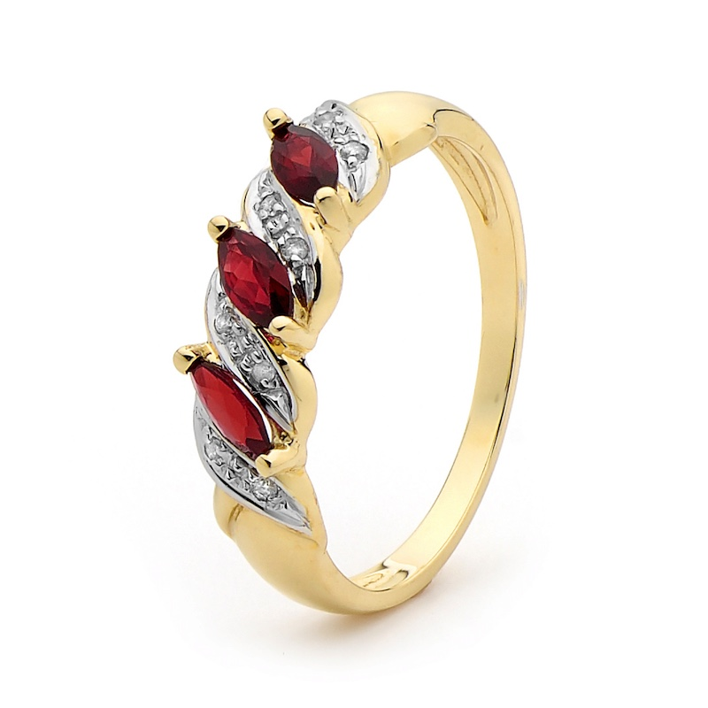 Created Ruby Anniversary Ring with Diamonds