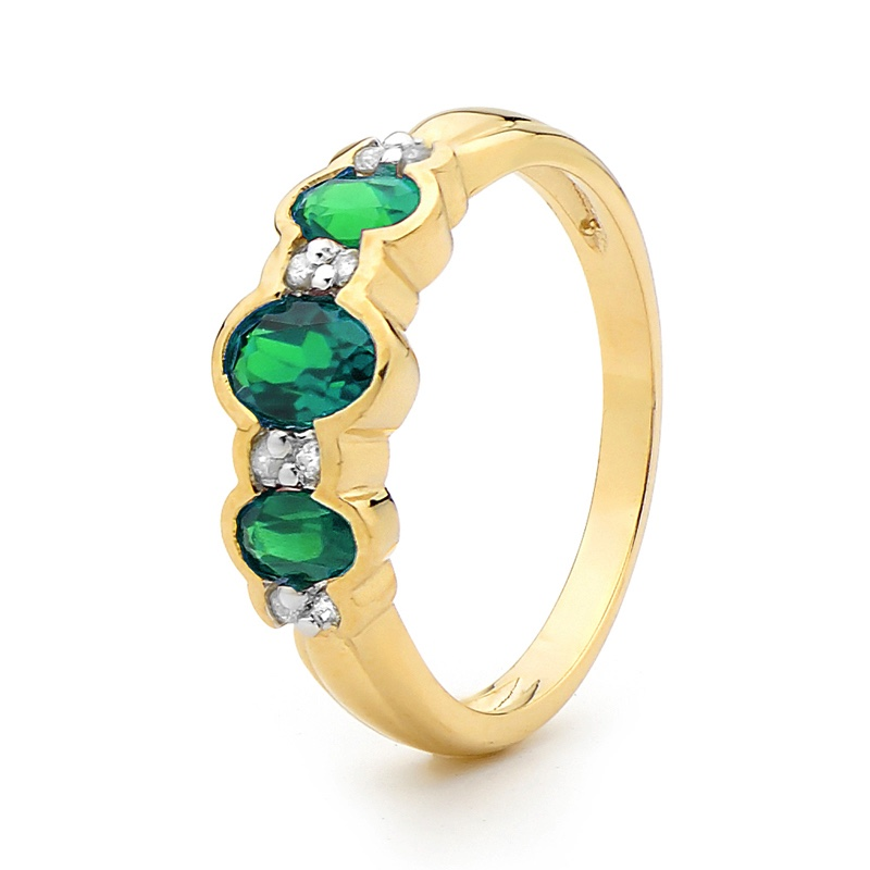 Created Emerald and Diamond Ring