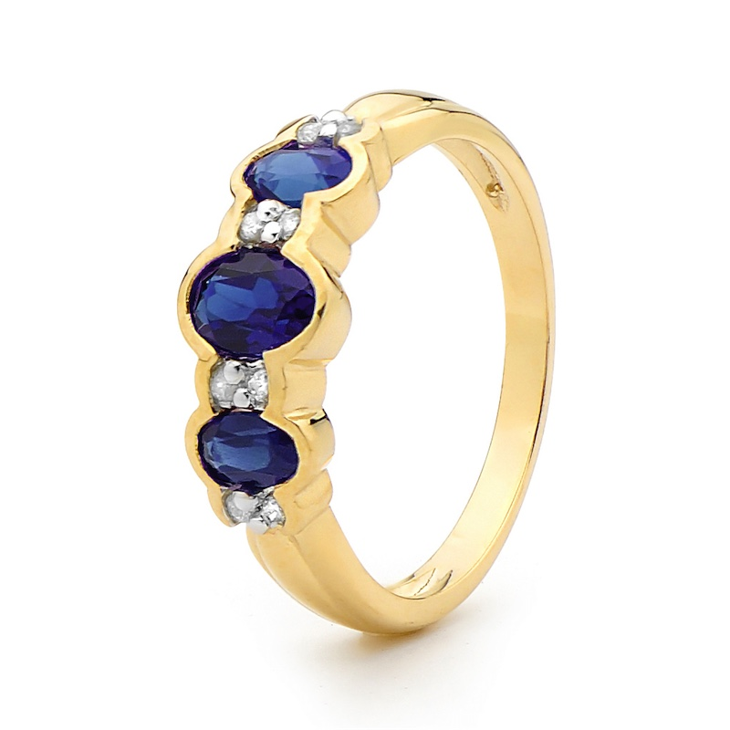 Sapphire Ring - With Diamonds - Yellow Gold