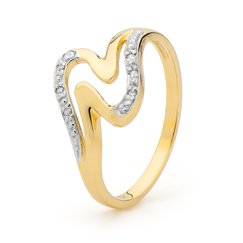 Double Wave Ring in Gold with Diamond