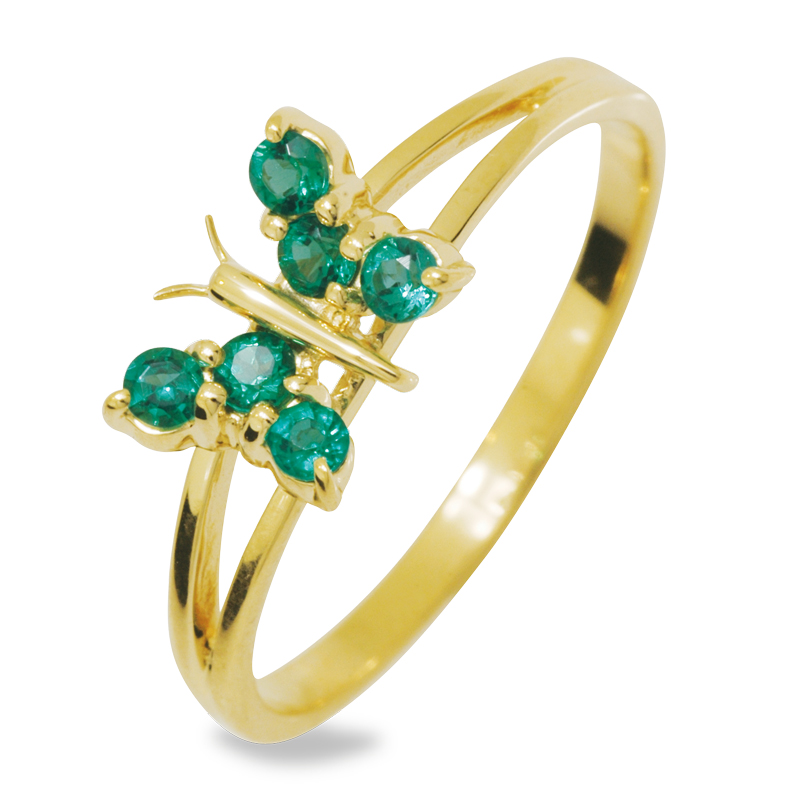 Butterfly Ring with Emerald