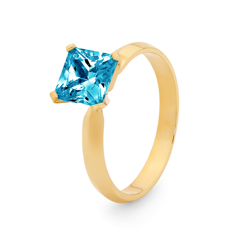 Princess Cut Blue Topaz Ring
