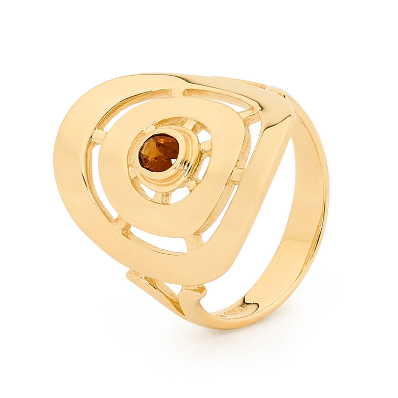 Gold Circle Ring with Garnet