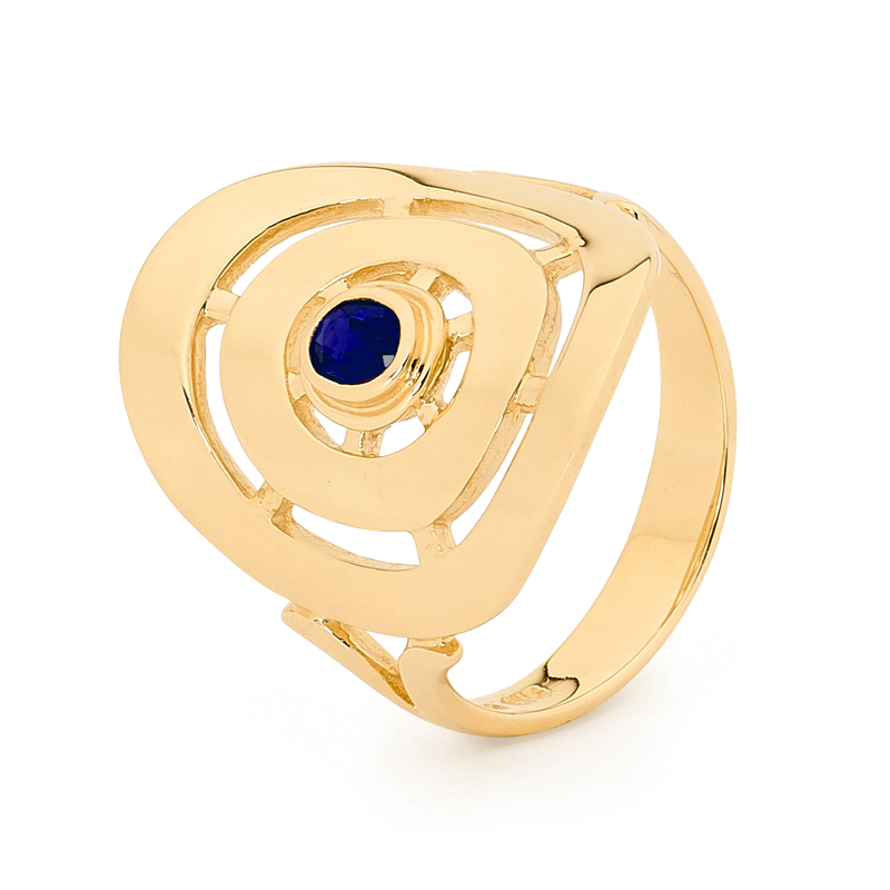 Sapphire Ring - Wide Gold Band