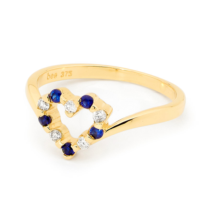 Created Sapphire and Diamond Love Ring