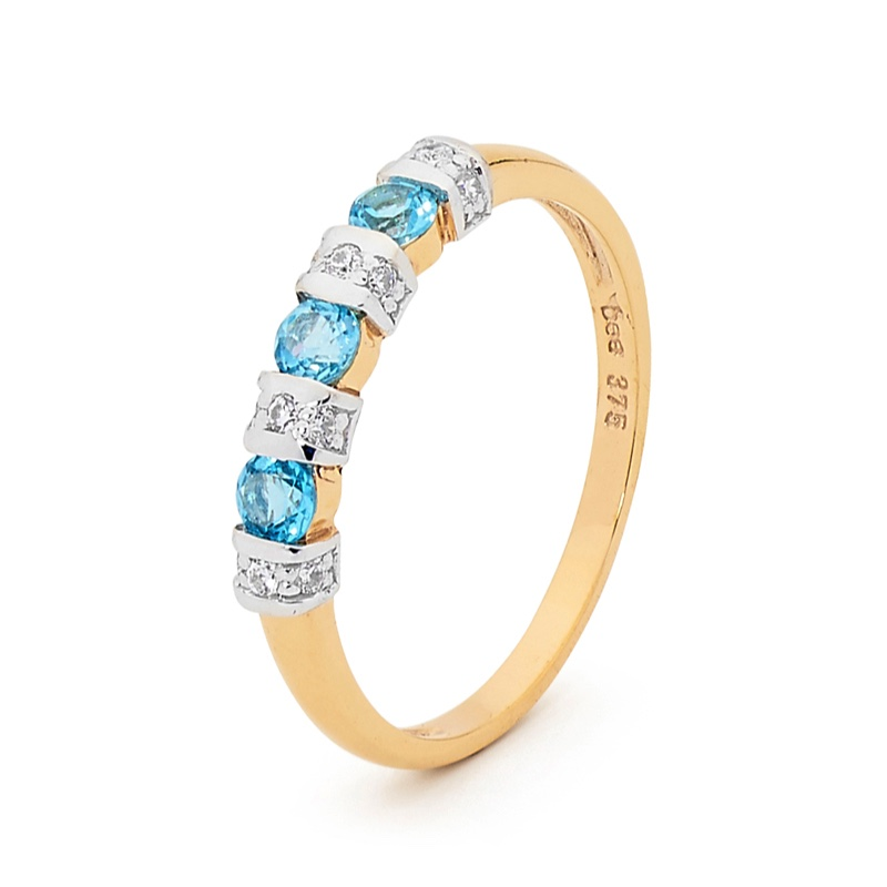 Blue Topaz and CZ Eternity Ring