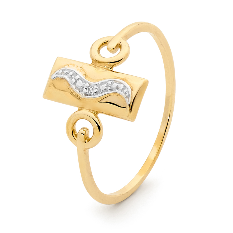 Oblong Gold and Diamond signet ring