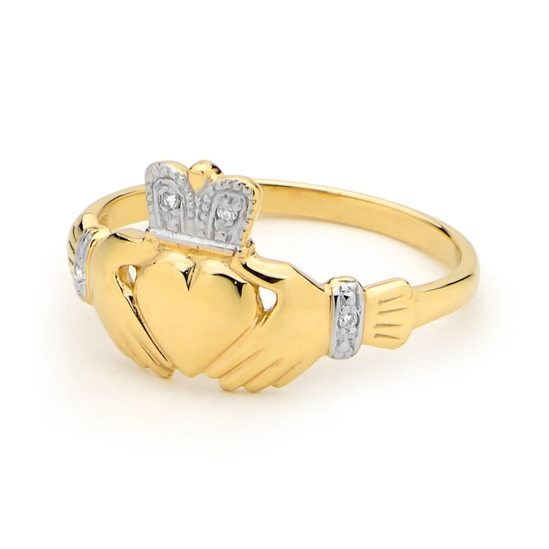 Diamond Crowned Claddagh ring