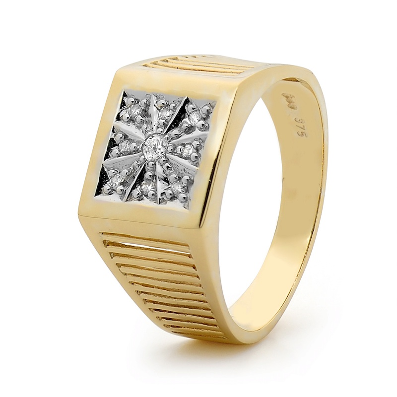 Mens Gold ring with Diamonds