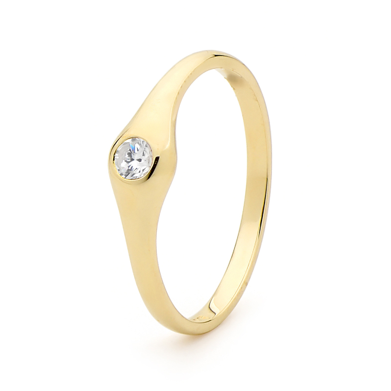 Cubic Zirconia Ring - Liquid Gold Design