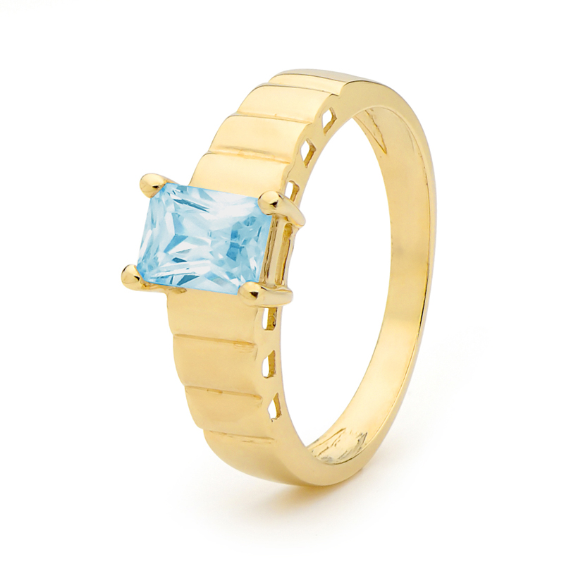 Ladies Blue Topaz Dress Ring