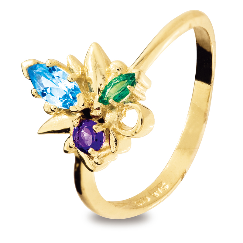 Multi Colour Flower Ring Topaz Emerald and Amethyst