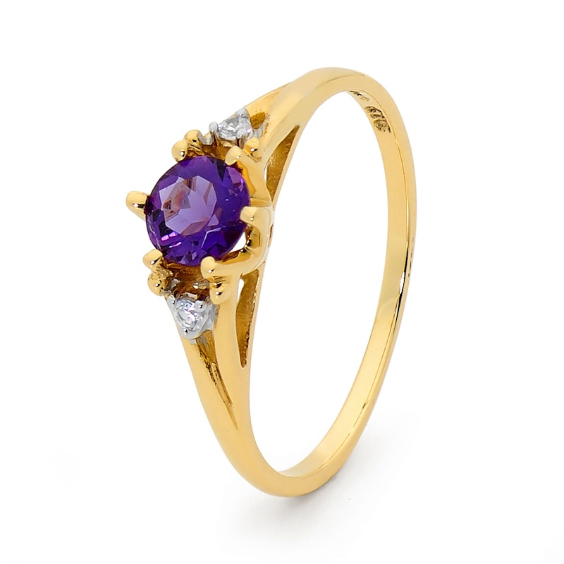 Amethyst and Zirconia Coronet Ring