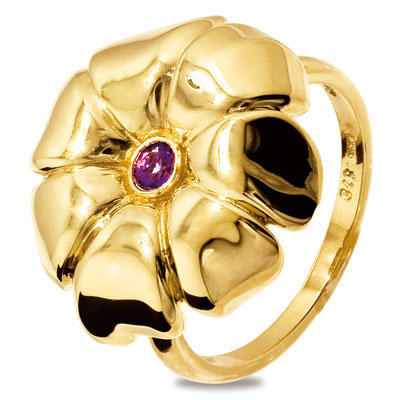 Pansy Flower Ring in Gold with Amethyst