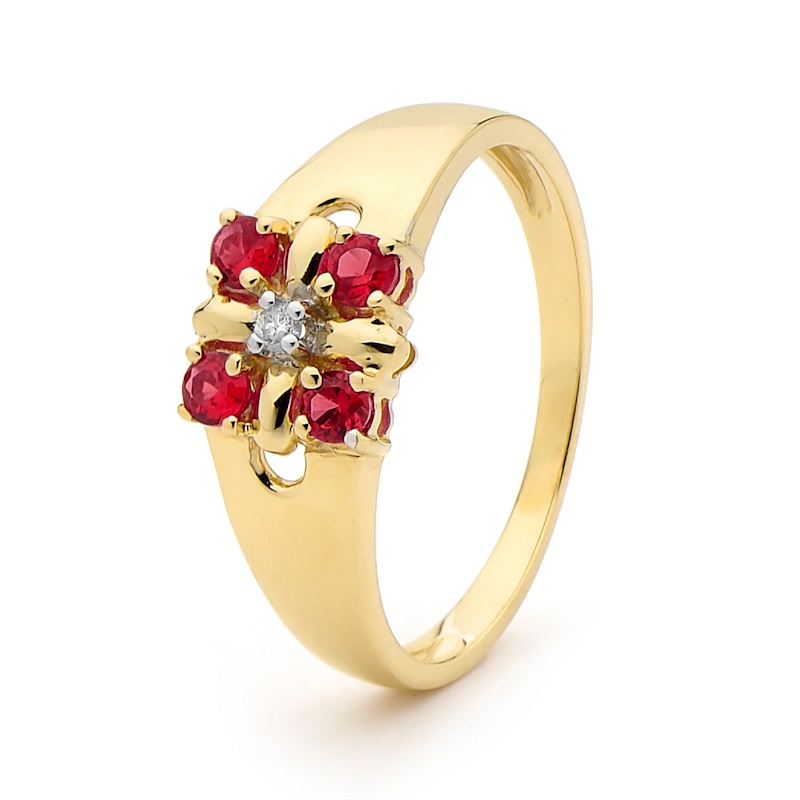 Created Ruby and Diamond Flower Ring