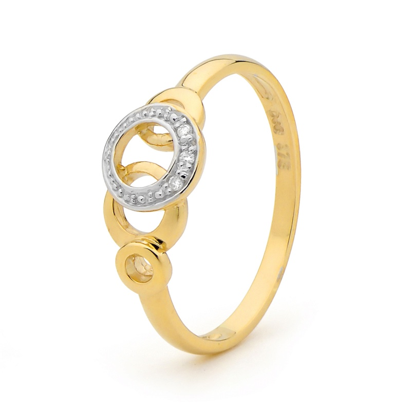 Diamond Set Gold Fun Ring