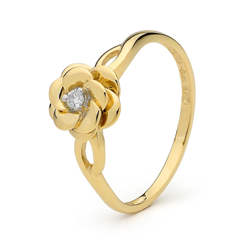 Diamond Set Camelia Ring