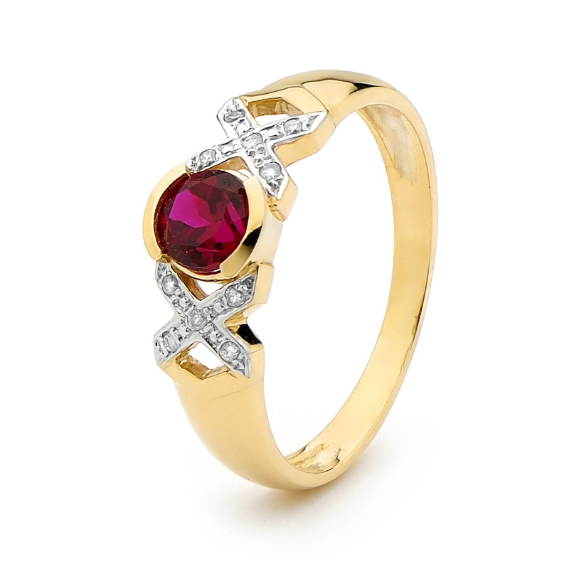 Created Ruby Kiss Hug Kiss Ring with Diamonds