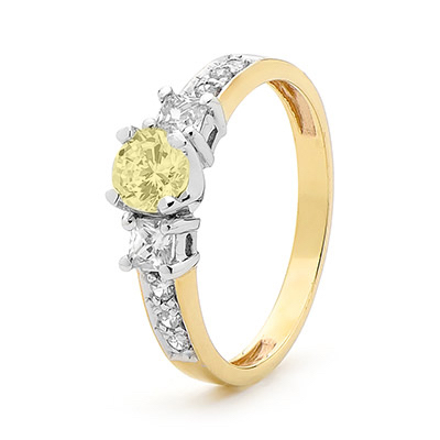 Engagement Ring with Fancy Colour Stones