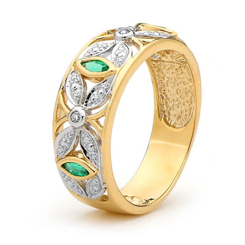 Created Emerald Right Hand Ring with Diamonds