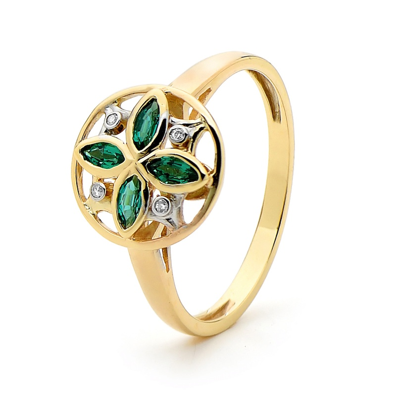 Emerald and Diamond Petal Ring