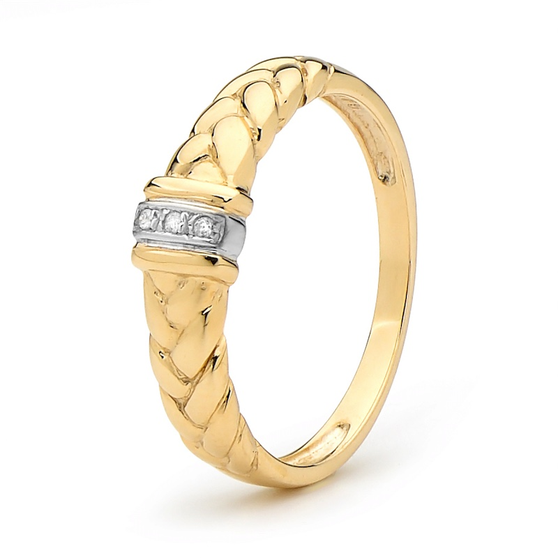 Diamond Set Plait Ring