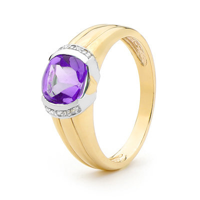 Amethyst and Diamond Dress Ring