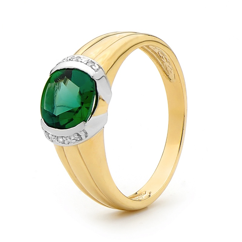 Created Emerald and Diamond Dress Ring