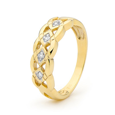 Plait Band Diamond Ring - Size S