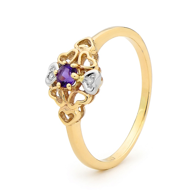 Romantic Flower Amethyst Ring