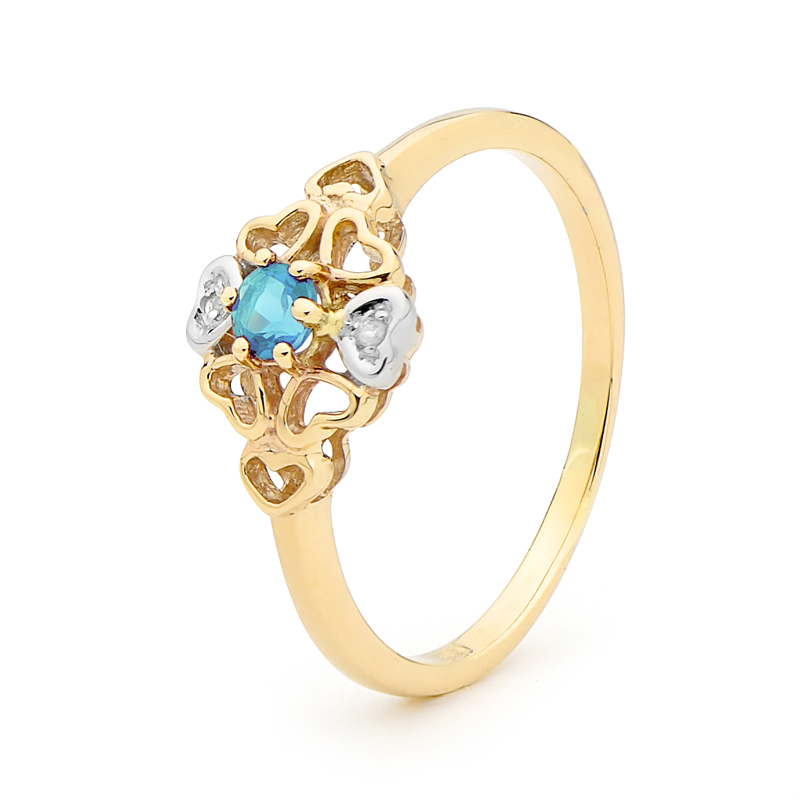 Romantic Flower Topaz Ring