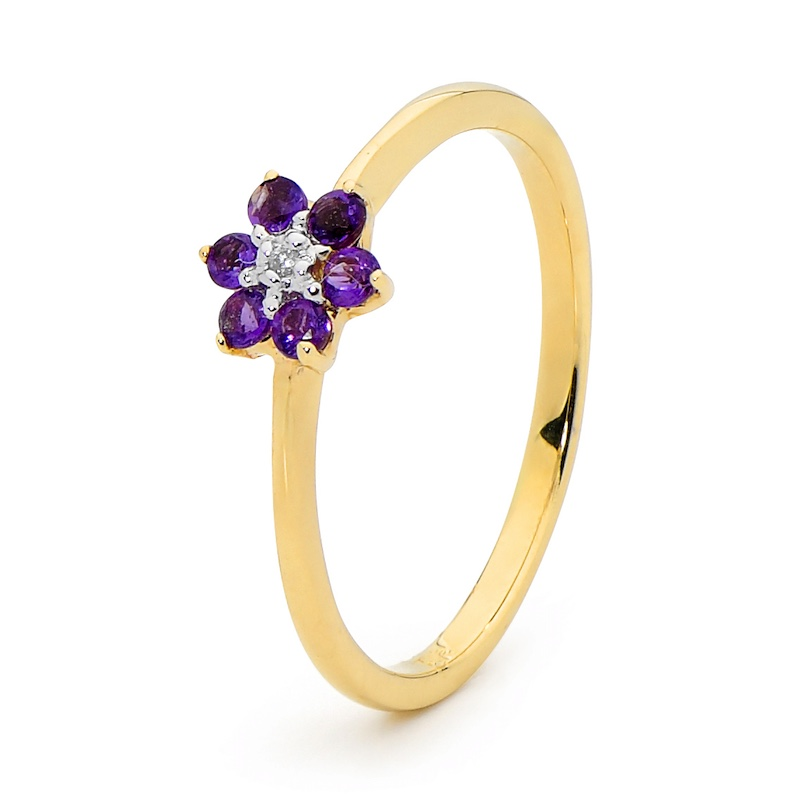 Amethyst Petal Ring with Diamond
