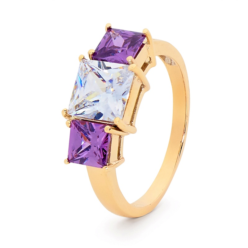 Amethyst and CZ Cocktail Ring