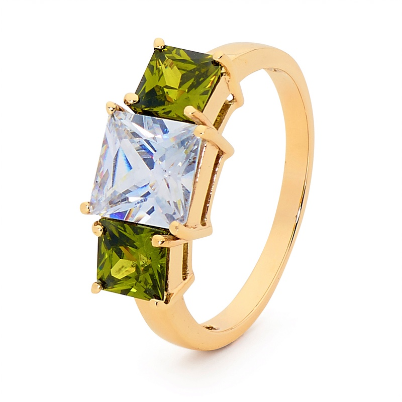Peridot and CZ Cocktail Ring