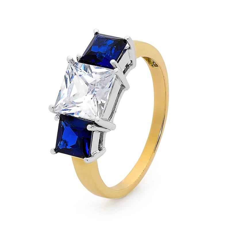 Sapphire and CZ Dress Ring