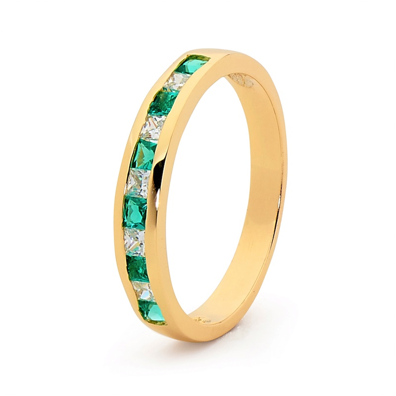 CZ Eternity Ring with  Created Emerald