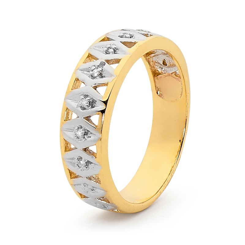 Diamond Set Two Tone Gold Ring