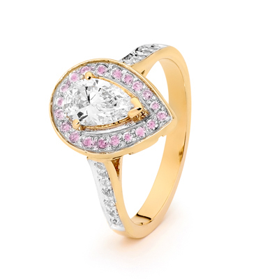 Teardrop CZ Engagement Ring with Pink Halo