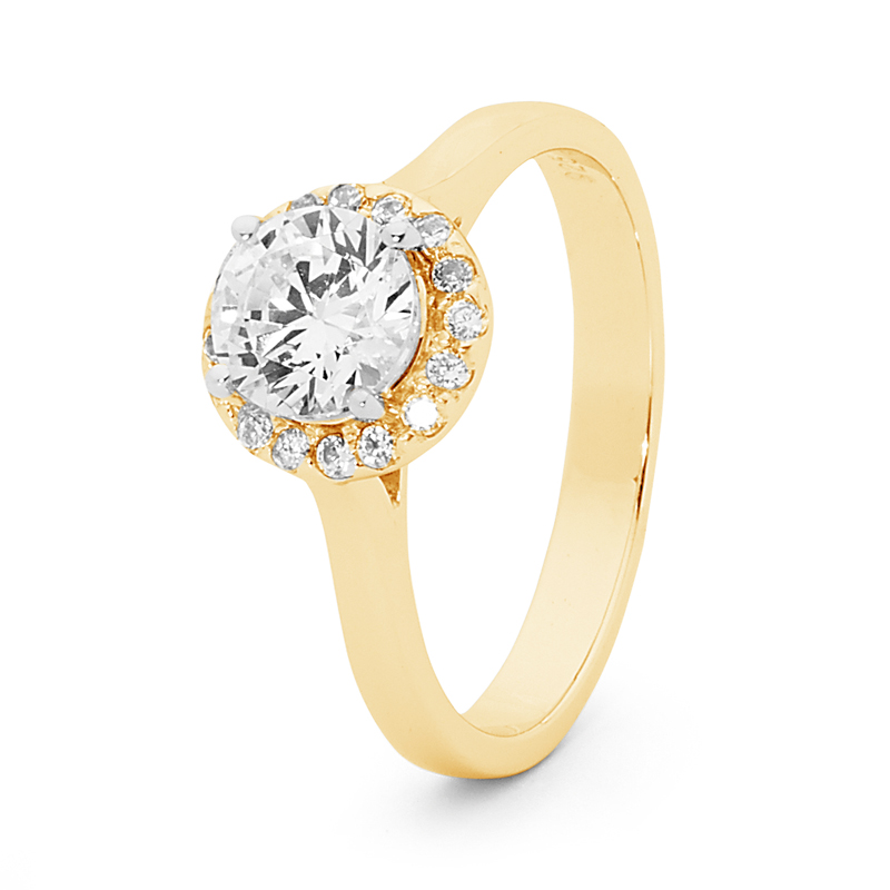 Cubic Zirconia Halo Ring - A37 - 2510