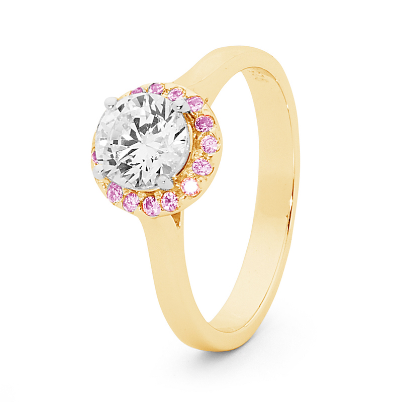 One Carat Zirconia Engagement Ring with Pink Halo