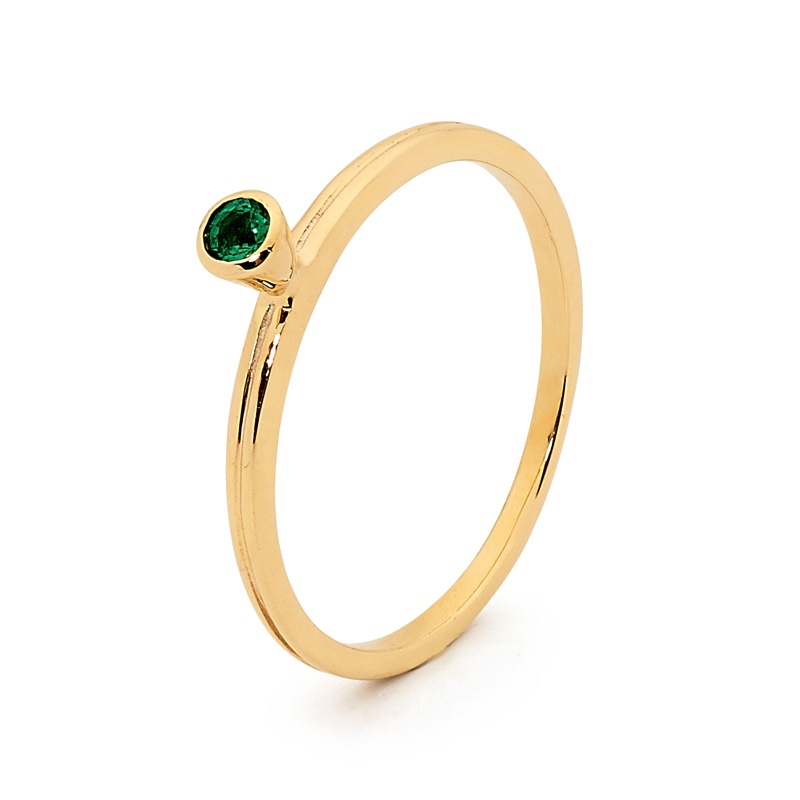 Stackable Fun Ring with Emerald