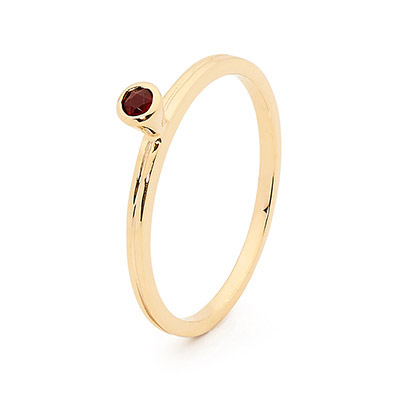Stackable Fun Ring with Garnet