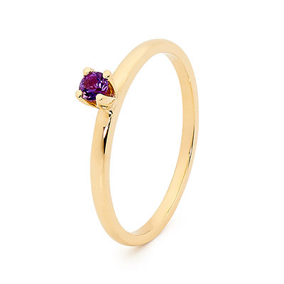Stackable Fun Ring with Amethyst
