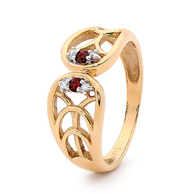 Garnet Dress Ring with Diamonds